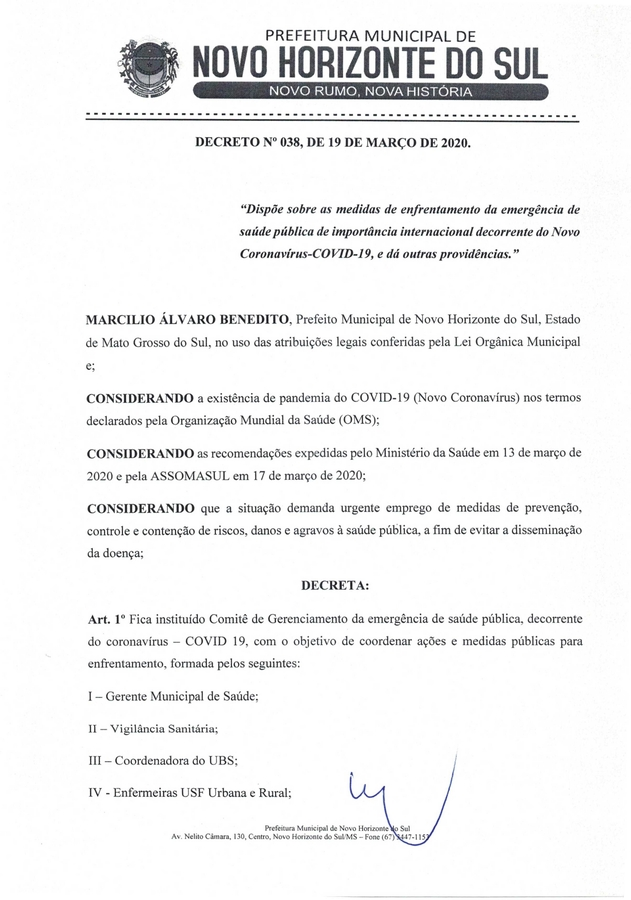 Center decreto prefeitura de novo horizonte do sul covid 19 page 0001